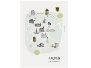 Handgemalter Aquarellstadtplan Aachen