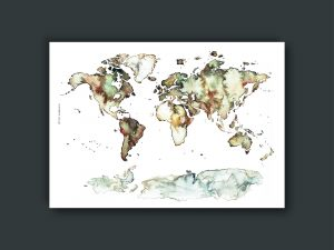 Handgemalte Aquarell-Weltkarte