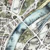 Handgemalter Aquarellstadtplan Köln