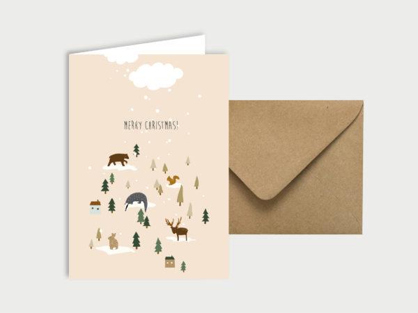 Happy Christmas   Klappkarte mit Umschlag