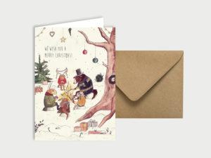 Happy Christmas | Klappkarte mit Umschlag
