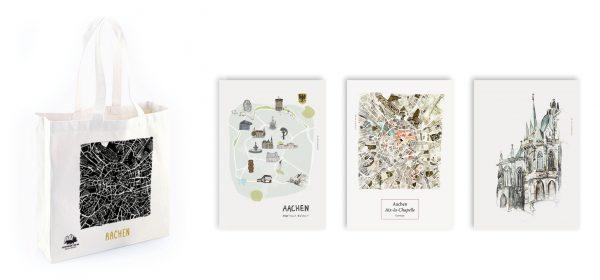 """Geschenkset """"Aachen"""" (Artprint & Beutel)"""