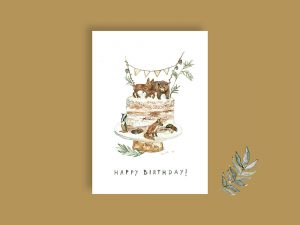 Postkarte Happy birthday Waldtiere