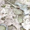 Handgemalter Aquarellstadtplan Düsseldorf