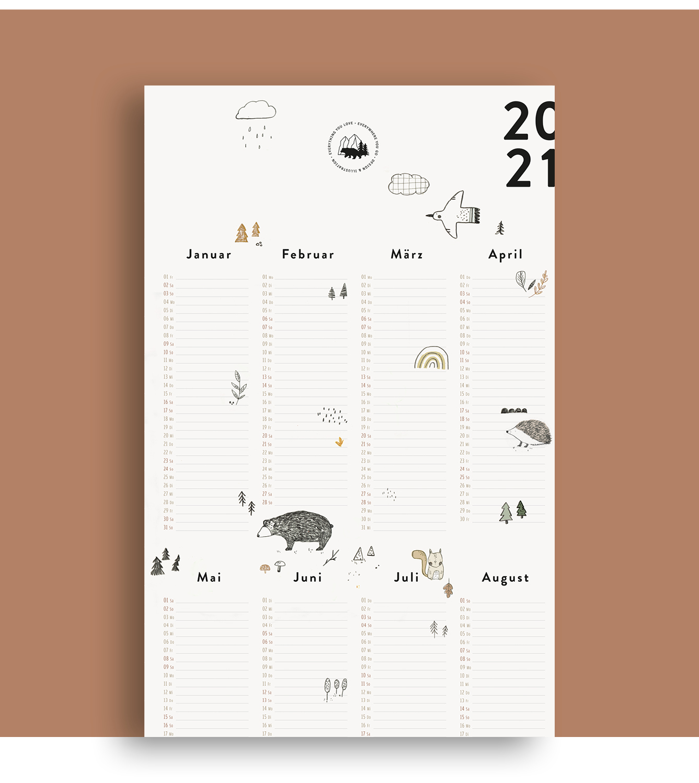 Wandkalender_Waldtiere_2020Ansicht1